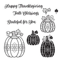 Spellbinders - Fall Traditions Collection - Clear Photopolymer Stamps - Charming Pumpkins