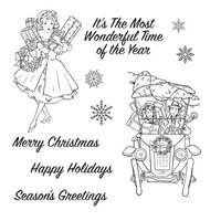 Spellbinders - Christmas Traditions Collection - Clear Photopolymer Stamps - Vintage Holidays