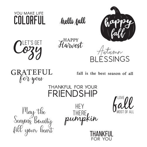 Spellbinders - Happy Harvest Collection - Clear Photopolymer Stamps - Fall Greetings