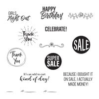 Spellbinders - Add To Cart Collection - Clear Photopolymer Stamps - Shopping Bag Sentiments