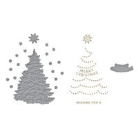Spellbinders - Glimmer Hot Foil - Trim A Tree Collection - Shining Christmas Tree Glimmer Plate and O Christmas Tree Die Set Bundle