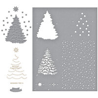 Spellbinders - Glimmer Hot Foil - Trim A Tree Collection - Shining Christmas Tree Glimmer Plate, O Christmas Tree Die Set and Layered Christmas Tree Stencil - Complete Bundle