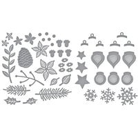 Spellbinders - Tis The Season Collection - Etched Dies - Holiday Decorations and Christmas Blooms Bundle