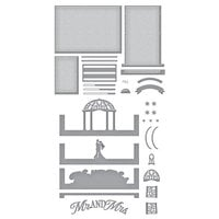 Spellbinders - Make A Scene Collection - Etched Dies - Wedded Bliss Scene Bundle