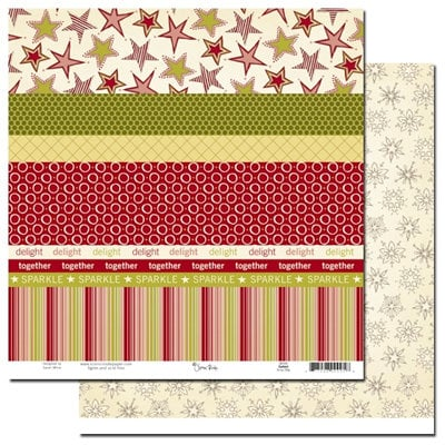 Scenic Route Paper - Garland Collection - Christmas - 12 x 12 Double Sided Paper - Scrap Strip, CLEARANCE