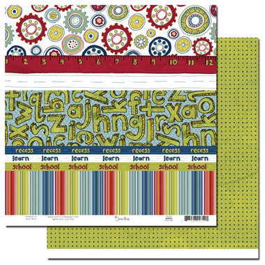Scenic Route Paper - Appleton Collection - 12x12 Double Sided Paper - Scrap Strip - School, CLEARANCE