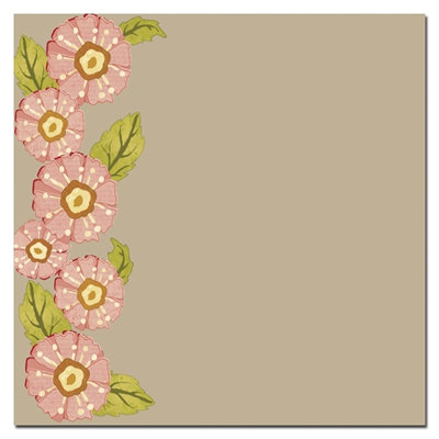 Scenic Route Paper - Sonoma Collection - 12 x 12 Kraft Paper - Pink Garland, CLEARANCE