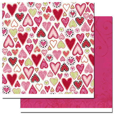 Scenic Route Paper - Loveland Collection - Valentine's Day - 12x12 Double Sided Paper - Loveland Garnet Street, CLEARANCE