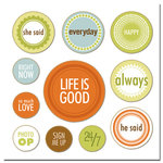 Scenic Route Paper - Chipboard Circles - Life is Good , CLEARANCE