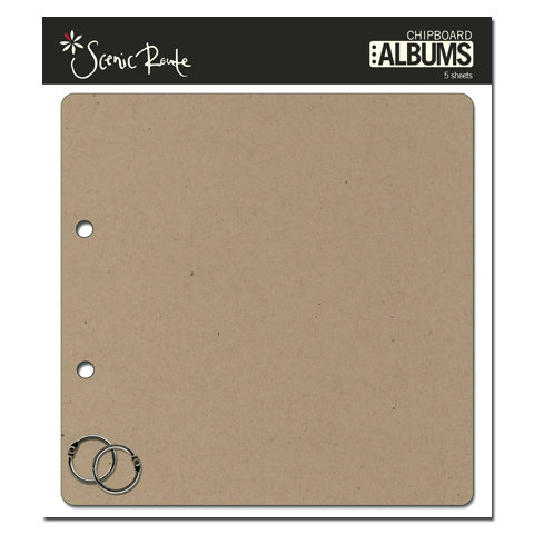 Scenic Route Paper - Chipboard Album - 8 Inch Square - Plain