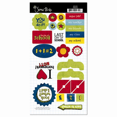 Scenic Route Paper - Appleton Collection - Chipboard Pieces - School, CLEARANCE