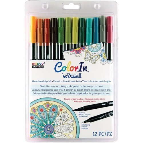 Marvy Uchida - Color In - Le Plume II - Markers - Natural - 12 Pack
