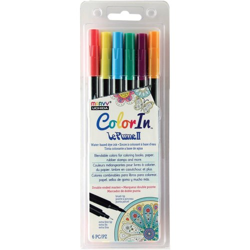 Marvy Uchida - Color In - Le Plume II - Markers - Bold - 6 Pack