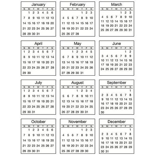 SRM Press - Stickers - Mini Calendar - Standard - 2018