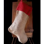 SRM Press - Burlap Stocking - Natural with Red Trim