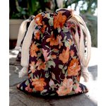 SRM Press - Floral Fabric Bags - Brown and Orange