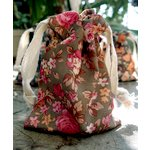 SRM Press - Floral Fabric Bags - Olive and Pink