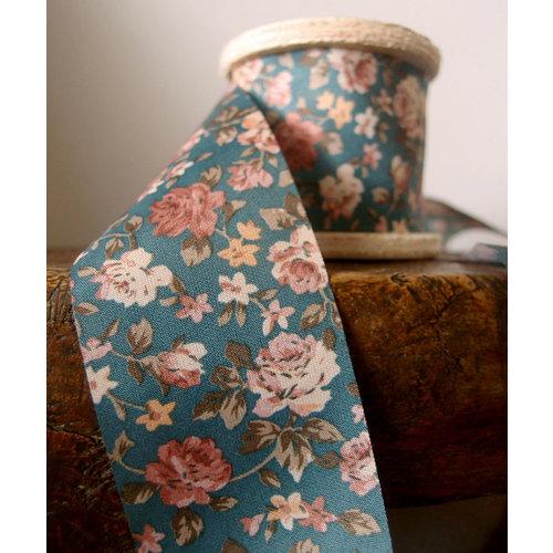 SRM Press - Floral Ribbon - Blue and Orange