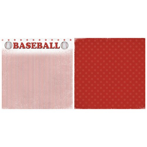 Scrappin Sports and More - Game Day Collection - 12 x 12 Double Sided Paper - Baseball