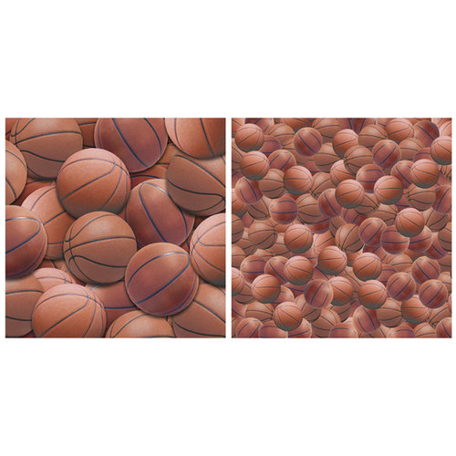 Scrappin Sports and More - Name of the Game Collection - 12 x 12 Double Sided Paper - Basketball