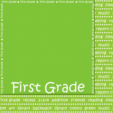 Scrappin Sports and More - School is Cool Collection - 12 x 12 Double Sided Paper - First Grade