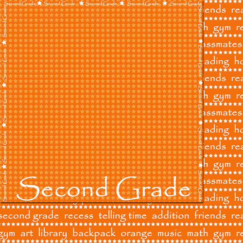 Scrappin Sports and More - School is Cool Collection - 12 x 12 Double Sided Paper - Second Grade