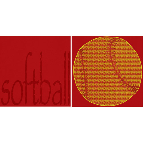 Scrappin Sports and More - Sporty Words Collection - 12 x 12 Double Sided Paper - Softball