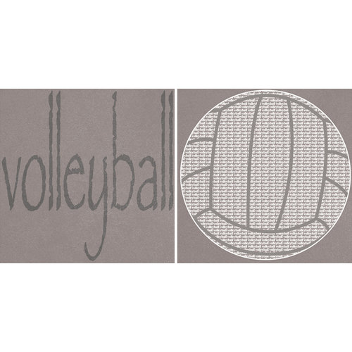 Scrappin Sports and More - Sporty Words Collection - 12 x 12 Double Sided Paper - Volleyball