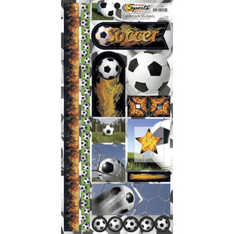Scrappin Sports and More - Sports on Fire Collection - Cardstock Stickers - Soccer Balls