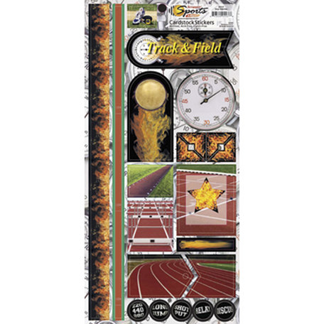 Scrappin Sports and More - Sports on Fire Collection - Cardstock Stickers - Stop Watches