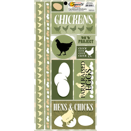 Scrappin Sports and More - Down on the Farm Collection - Cardstock Stickers - Chickens