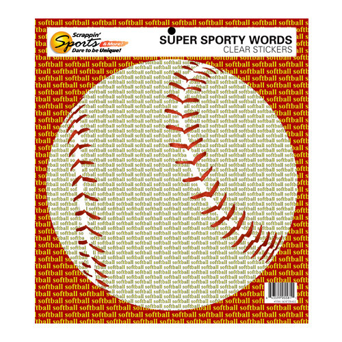 Scrappin Sports and More - Sporty Words Collection - Clear Stickers - Softball