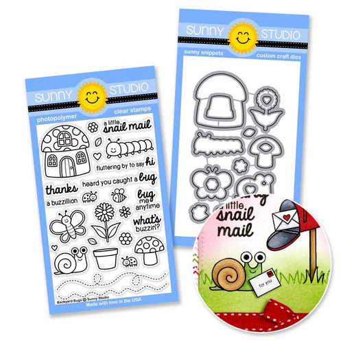 Sunny Studio Stamps - Snippits Die and Acrylic Stamp Set - Backyard Bugs Bundle