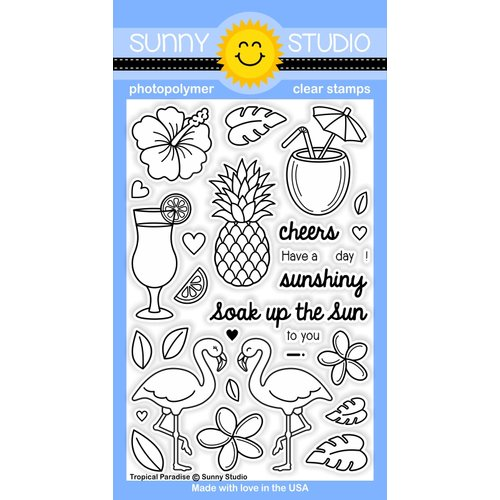 Sunny Studio Stamps - Clear Acrylic Stamps - Tropical Paradise
