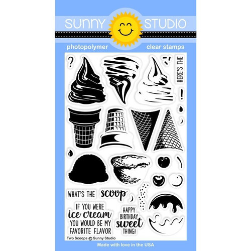 Sunny Studio Stamps - Clear Acrylic Stamps - Two Scoops