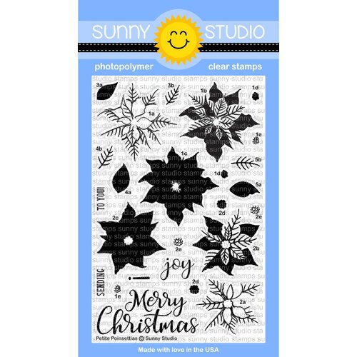 Sunny Studio Stamps - Christmas - Clear Acrylic Stamps - Petite Poinsettias