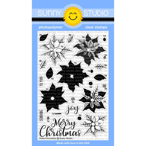 Sunny Studio Stamps - Christmas - Clear Photopolymer Stamps - Petite Poinsettias
