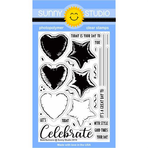 Sunny Studio Stamps - Clear Photopolymer Stamps - Bold Balloons