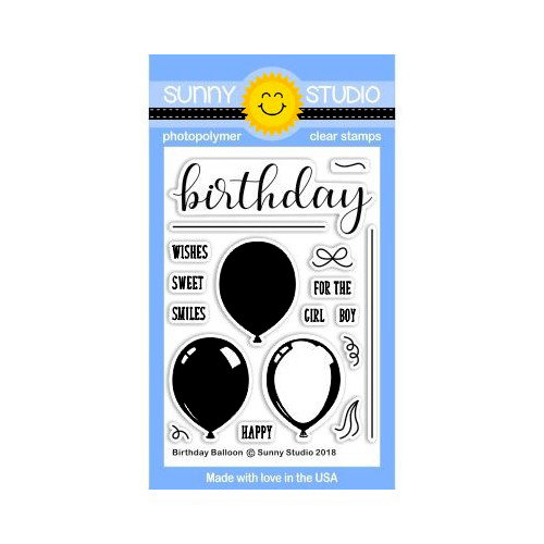 Sunny Studio Stamps - Clear Photopolymer Stamps - Birthday Balloon