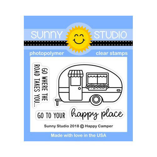 Sunny Studio Stamps - Clear Photopolymer Stamps - Happy Camper