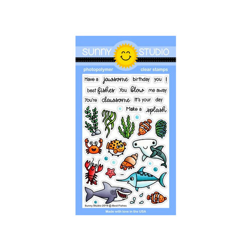 Sunny Studio Stamps - Clear Photopolymer Stamps - Best Fishes
