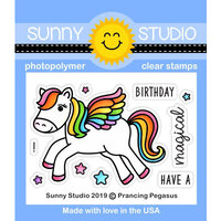 Sunny Studio Stamps - Clear Photopolymer Stamps - Prancing Pegasus