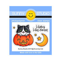 Sunny Studio Stamps - Halloween - Clear Photopolymer Stamps - Scaredy Cat