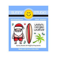 Sunny Studio Stamps - Christmas - Clear Photopolymer Stamps - Surfing Santa