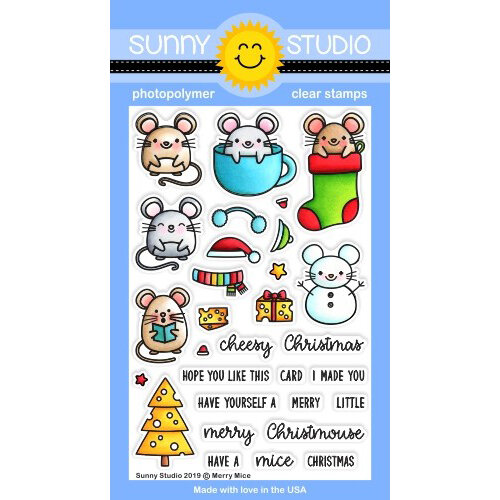 Sunny Studio Stamps - Christmas - Clear Photopolymer Stamps - Merry Mice