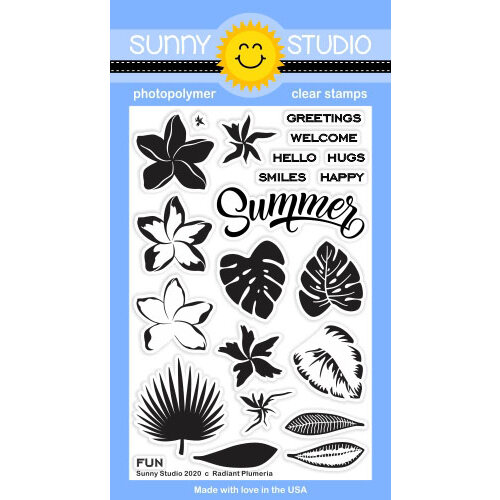 Sunny Studio Stamps - Clear Photopolymer Stamps - Radiant Plumeria