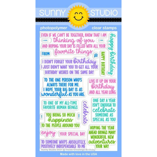 Sunny Studio Stamps - Clear Photopolymer Stamps - Inside Greetings Birthday