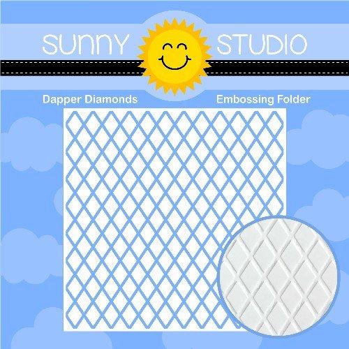 Sunny Studio Stamps - Christmas - Embossing Folder - Dapper Diamonds