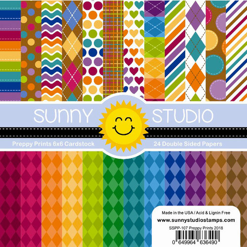 Sunny Studio Stamps - 6 x 6 Paper Pack - Preppy Prints