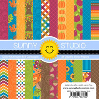 Sunny Studio Stamps - 6 x 6 Paper Pack - Colorful Autumn